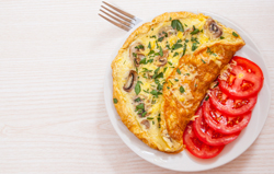 Omelet with mushrooms and cheese