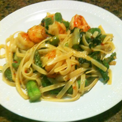 This pasta dish, incorporating asparagus and shrimp, is the essence of springtime. With the addition of the sambal sauce you have freshness and heat!