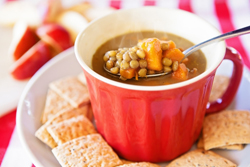 The sweet potatoes lend a rich flavor, color , and loads of Vitamin A to this nutritious soup.