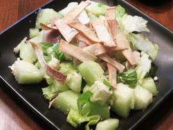 For a luscious dinner salad during hot weather, this chicken and honeydew entree is the perfect choice.  With rotisserie chicken, the kitchen stays cool.