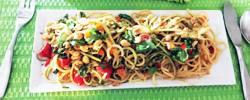 If you love peanut sauce, you will absolutely love this pasta/zucchini noodle dish. It has spicy flavors and the coolness of lime, cilantro and basil.